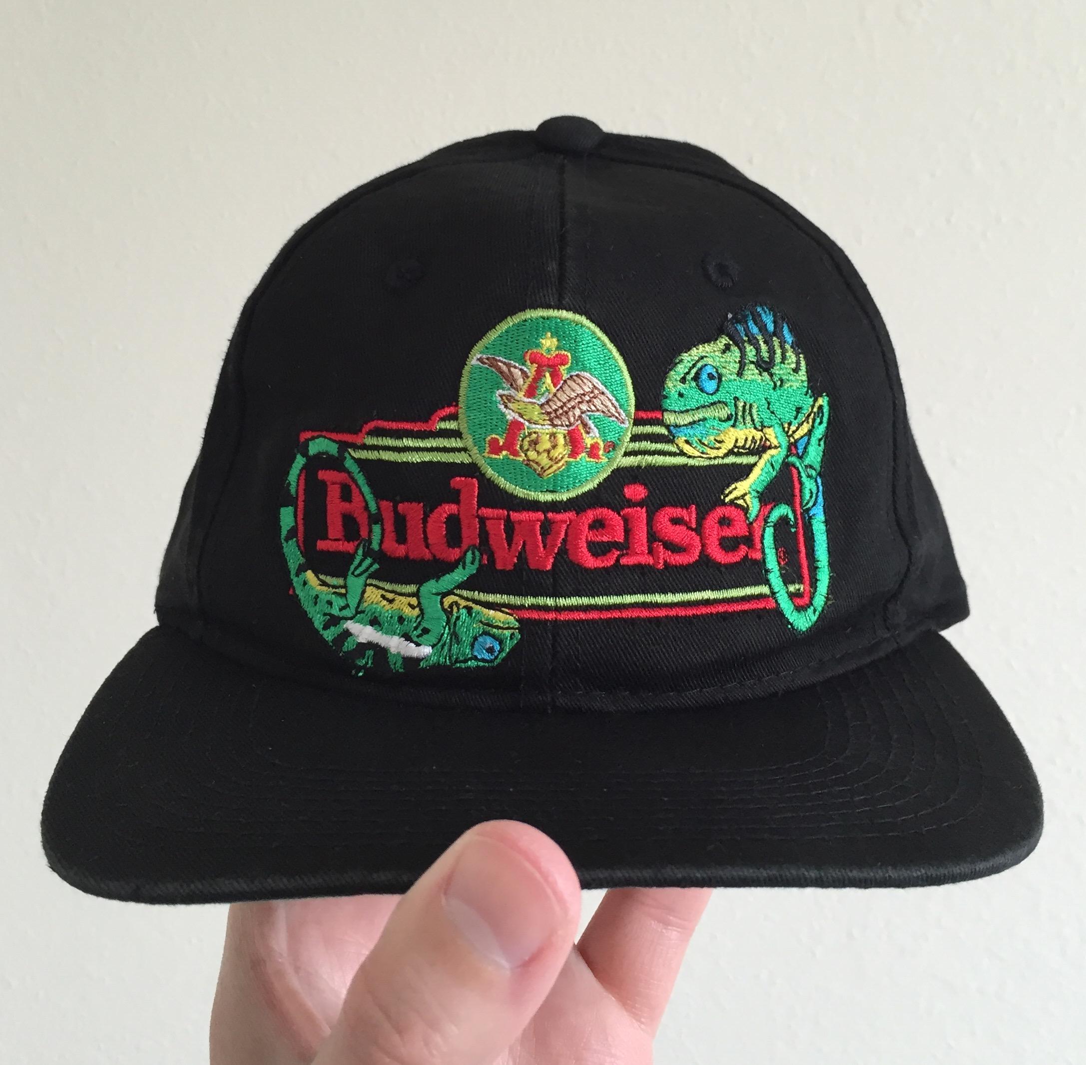 02b20750 Vintage Budweiser 90s Chameleons Logo Snapback Hat | Grailed