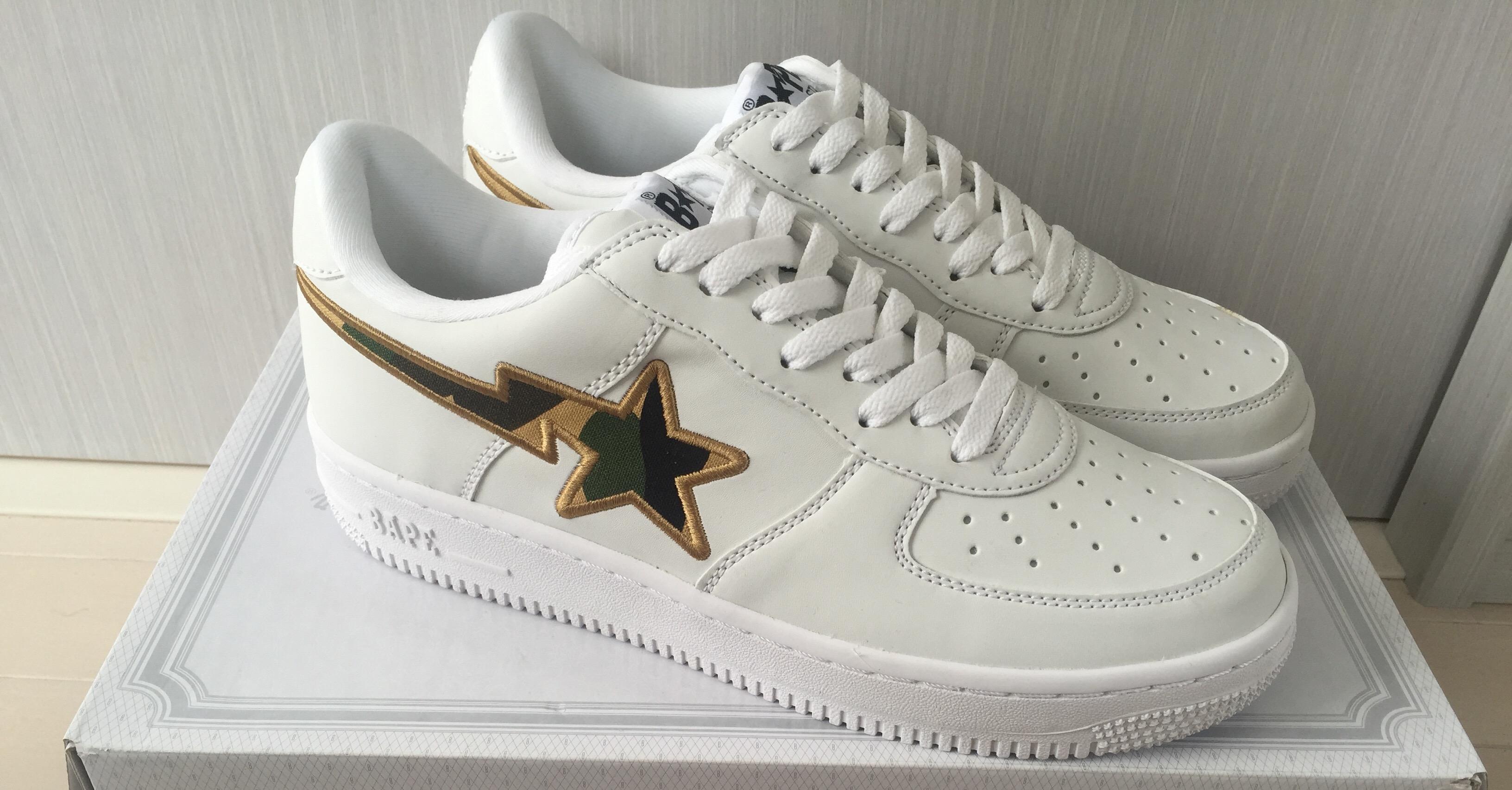 fe67e4c61826f Bape Bapesta White/yellow Camo Shoes   Grailed