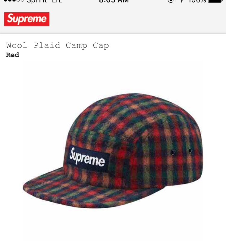1c9ac35f69e Supreme Wool plaid camp cap (red) Size one size - Hats for Sale - Grailed