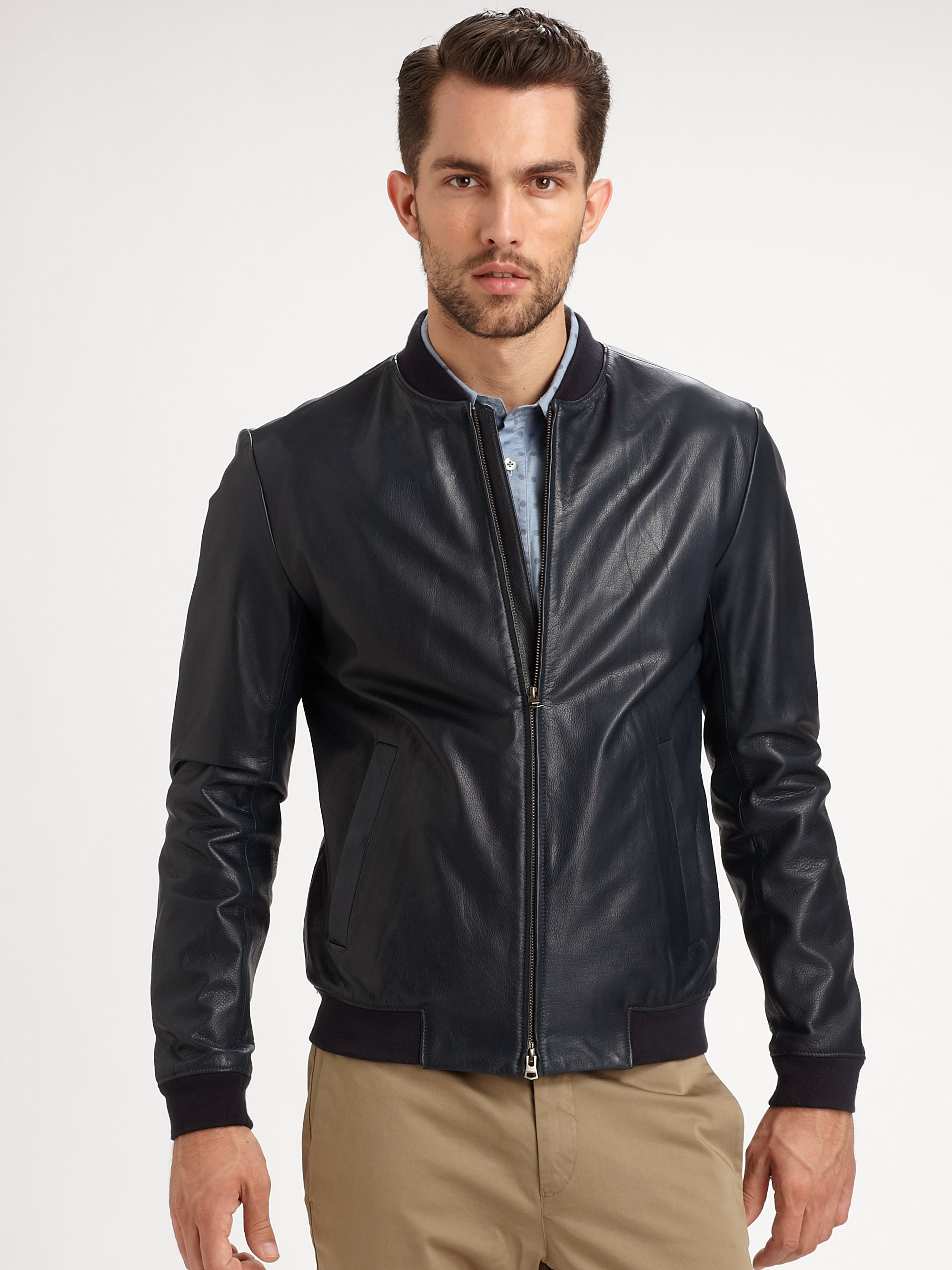 10fae18d03 Theory Blue Tivea Leather Jacket | Grailed