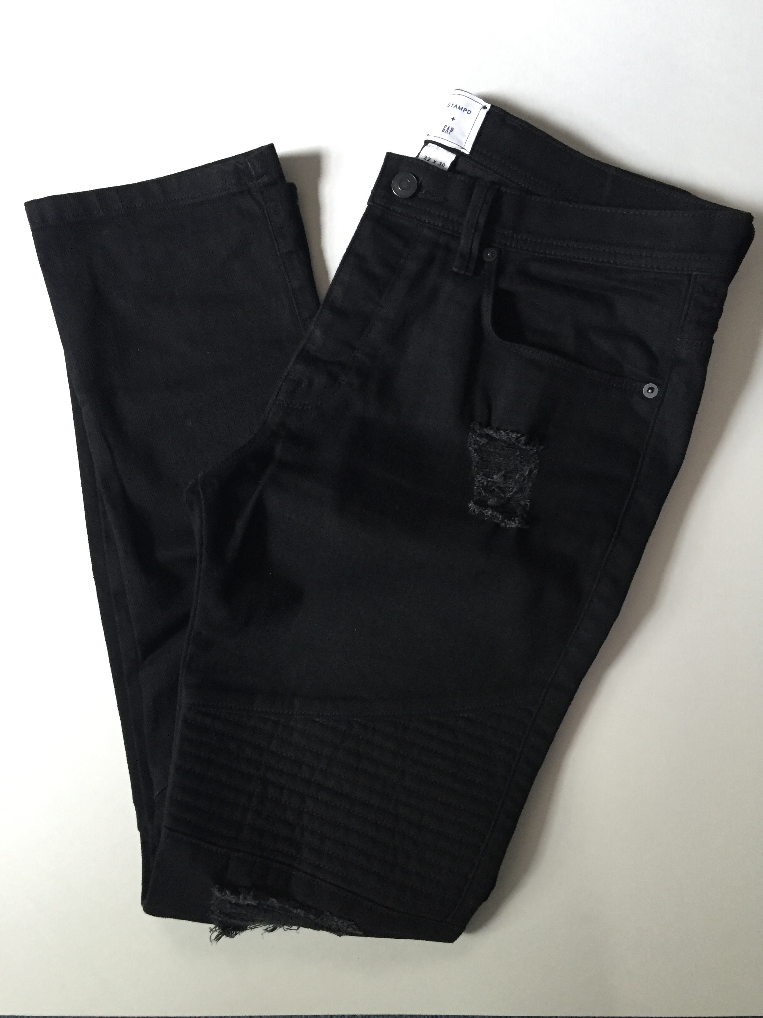wholesale new high quality los angeles Gap Stampd X Gap X Gq Black Ripped Biker Jeans | Grailed